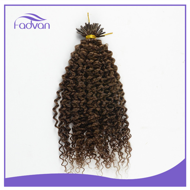 Top quality direct factory virgin unprocessed 100 keratin tip curly human hair extension