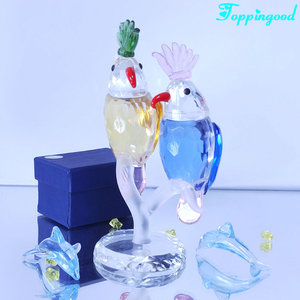 Fancy Double Crystal Parrot Figurine For Animal Decoration