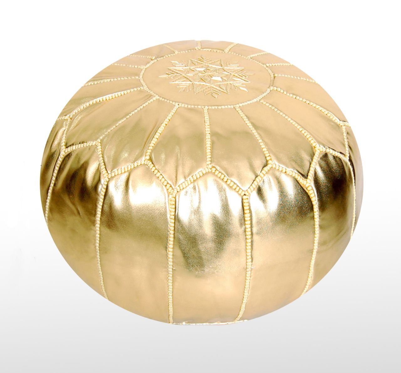 Moroccan Pouf Ottoman Footstool (Faux Leather) Genuine Hand-Stitched Seating | Unstuffed | Living Room, Bedroom, Sitting Area | Gold | Exclusive Designs