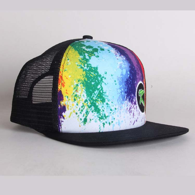 Black Cool Onder Rand Gedrukt China 5 Panel Hat