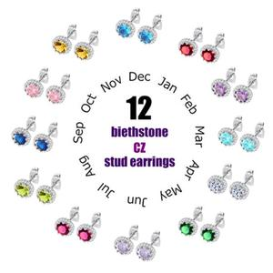 Classic Birthstone Stud Earring For Women Dazzle AAA+ Cubic Zirconia 12 Months Fashion Birth Day Jewelry Girl's Gift DE600