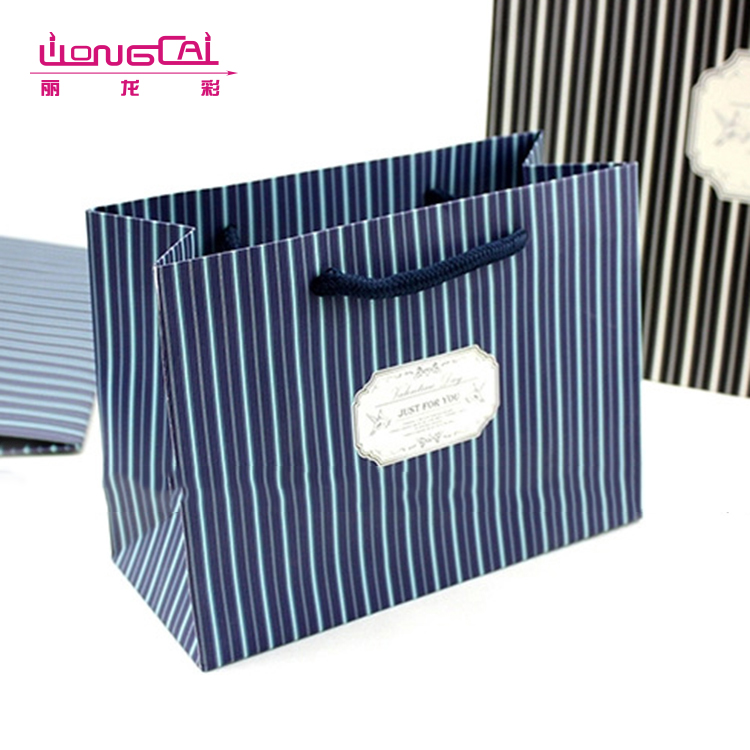 High quality famous brand cheap wholesale luxury paper bag rope handle