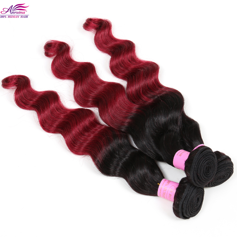 Big Discount Virgin Brazilian Loose Wave 5Bundles lot Ombre #T1B/Burgundy Virgin Hair Weave Mix 10-30inches Brazilian Loose Wave