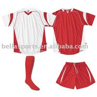 2012 Super star style of red/white home/away soccer kit/uniform with light color in wicking mesh/interlock fabric