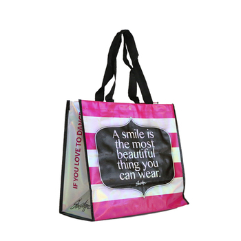 Factory price Laser coated shopping bags fabric eco friendly laminated pp woven bag