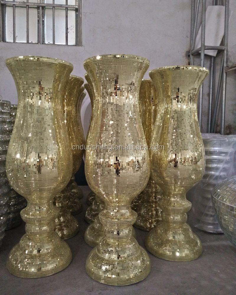 Factory price large fiberglass footed mirrored mosaic golden floor factory price large fiberglass footed mirrored mosaic golden floor wedding pillar vase reviewsmspy