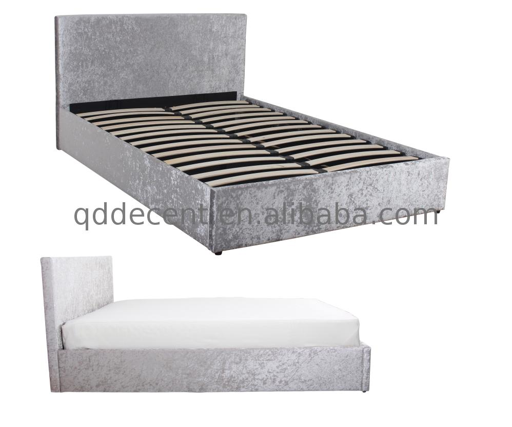 spare parts queen metal platform Silver Storage Crushed Velvet Bed for space saving