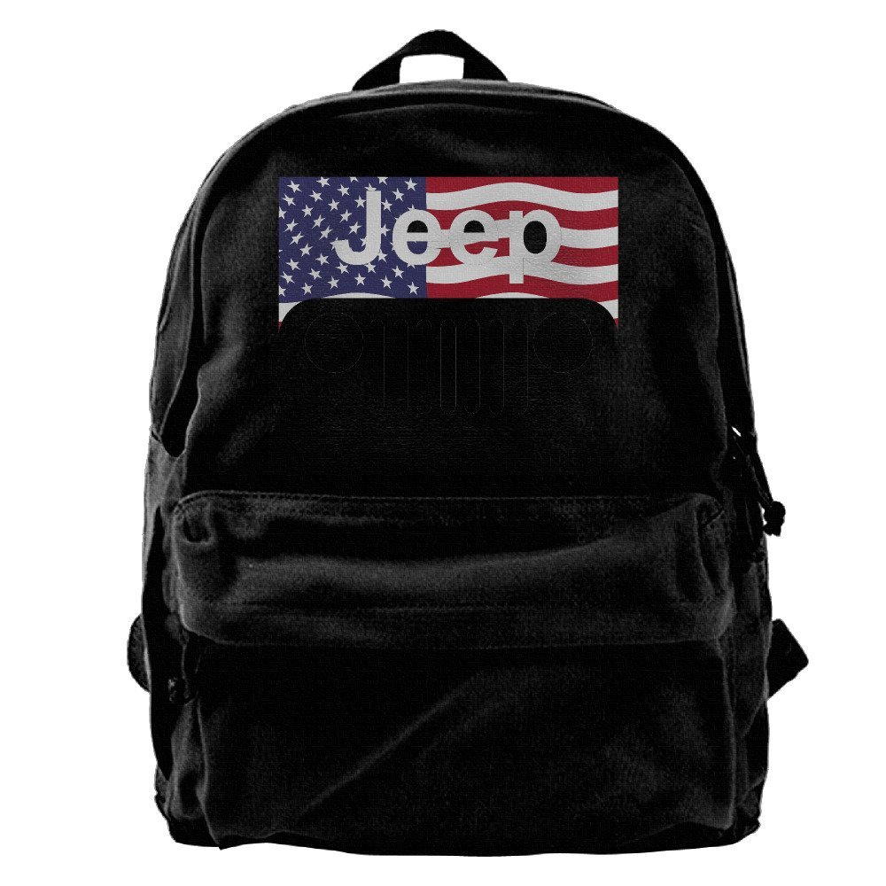 Canvas Backpack, Jeep American Flag Logo Casual Computer College Bag Daypack For Travel, Hiking, Camping