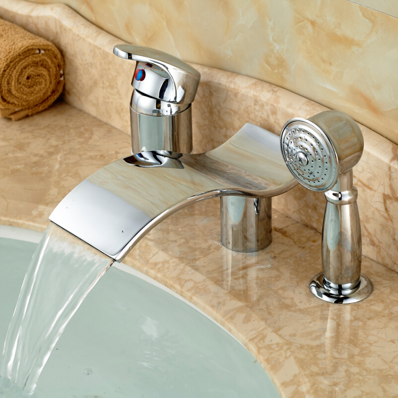 Waterfall Spout Bathroom Faucet: Polished Chrome Waterfall Spout 3pcs Widespread Bathtub