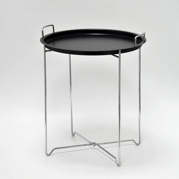 X Shaped Wire Small Portable Black Handle Round Metal Tray Table