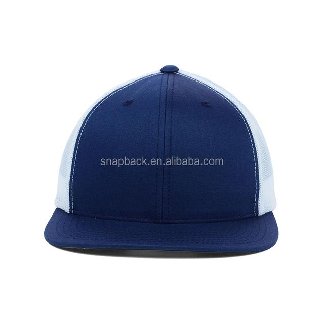 972abb52991 wholesale custom embroider 6 panel plain flat brim snapback mesh cap  factory wholesale blank blue trucker