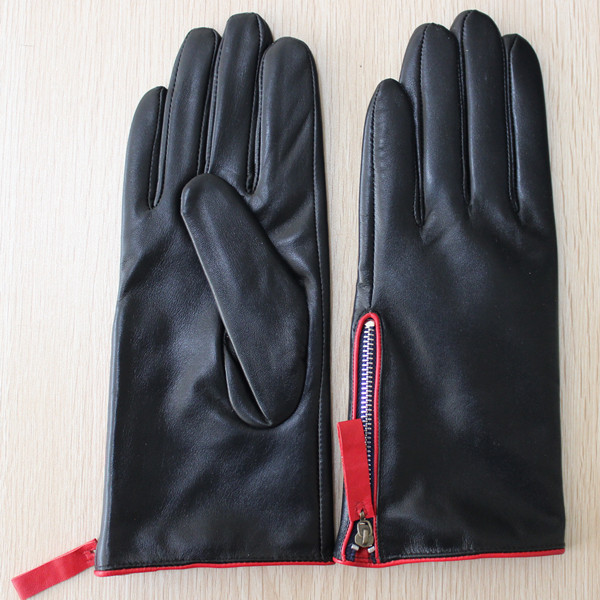 women zipper glove black sheepskin new design leather glove
