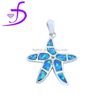 Fashion Sterling Silver Gram Price For Opal 925 Pendant Starfish