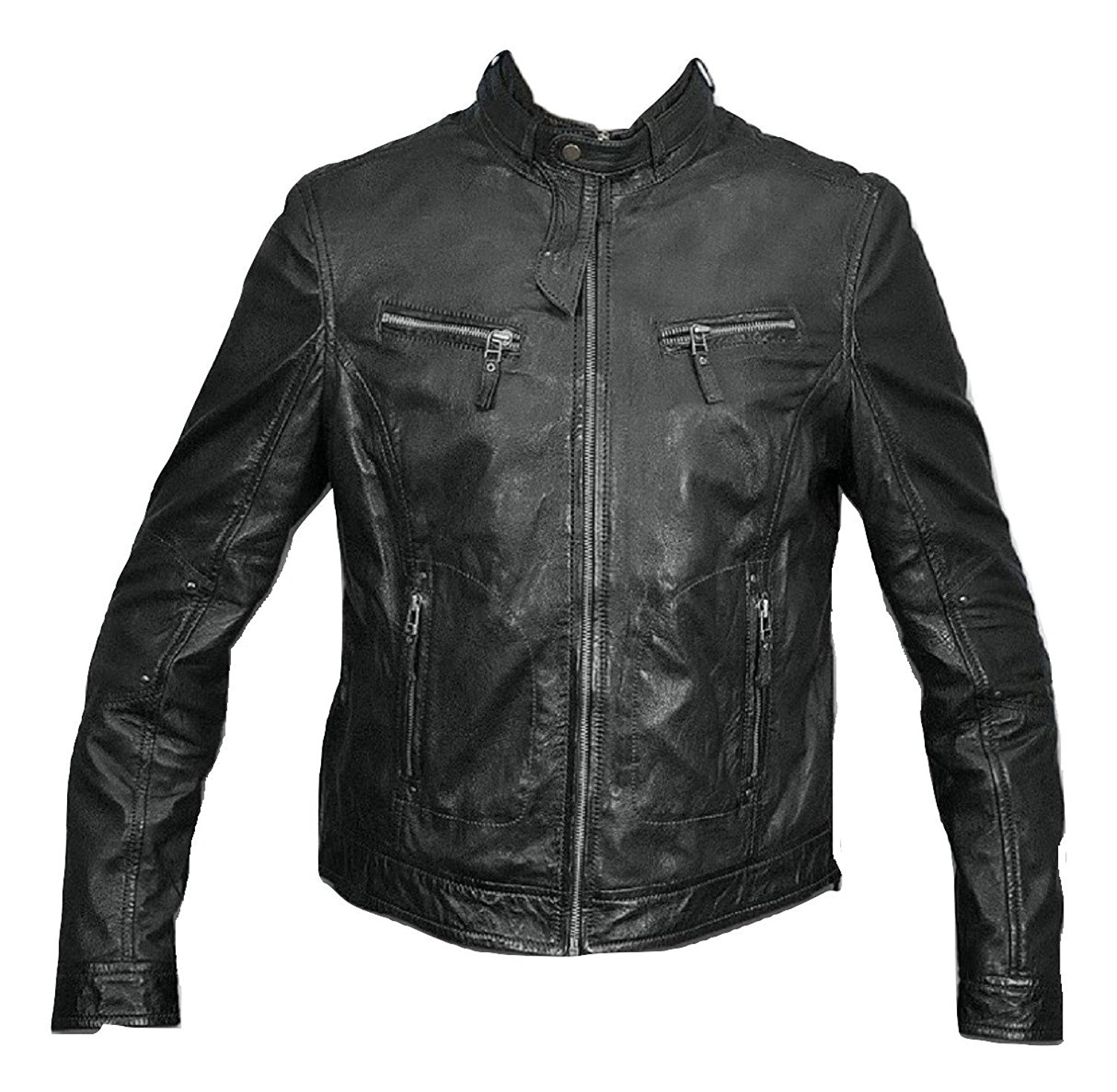 Bestzo Women's Fashion Jacket Lamb Leather Black XS
