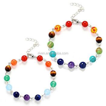 aa64185542fc SN1258 7 Chakras pulseras para las mujeres de piedra natural de cristal  brillante pulseras Yoga sanación