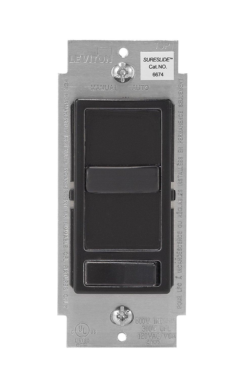Leviton 6674-P0E SureSlide Universal 150W LED & CFL/600W Incandescent Dimmer, 12-Pack, Black