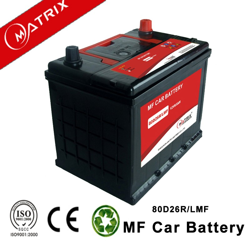 70ah smf automotive lead acid 80d26r 12v car battery with best price
