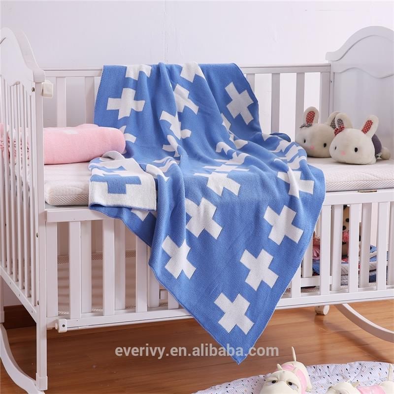 100% Organic cotton cross pattern knitted blanket for <strong>baby</strong>,Crochet Blanket