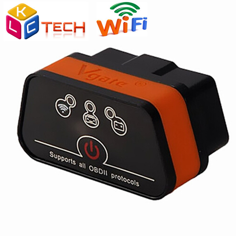 2016 горячей Vgate wi-fi iCar2 OBD2 ELM327 100% оригинал iCar2 wi-fi Vgate бд диагностический сканер для iOS / Android пк 2 года гарантии