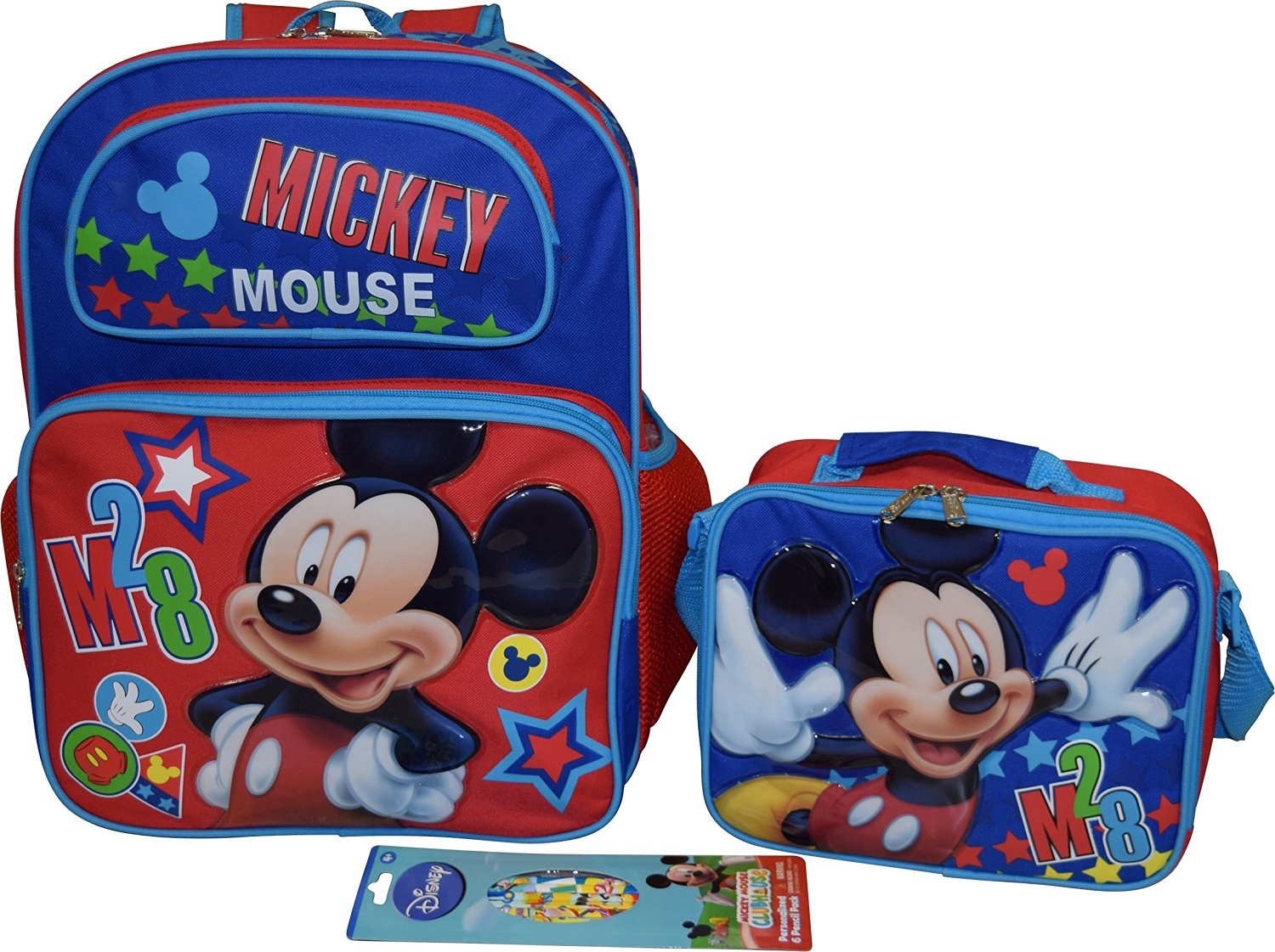Disney Mickey Mouse Set 16 Backpack Lunch Box W Bonus 6pk Pencils