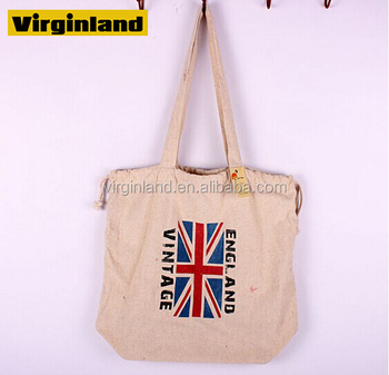Recycle 100 Cotton Canvas Tote Drawstring Bags With Uk Flap Printing Design For Women