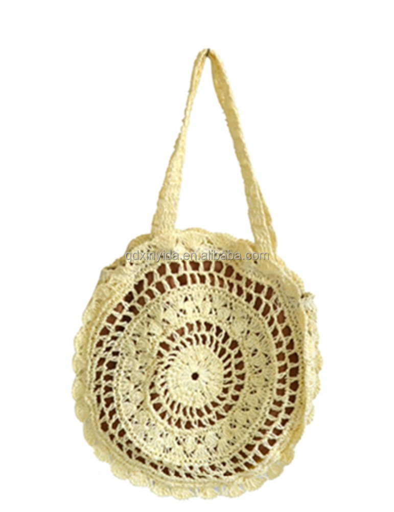 beach bag round paper straw bag with long strap