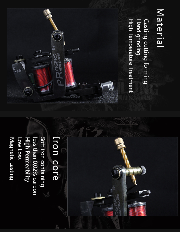 Yilong  Professional  Imitating Micky Coil Machine 10 Wrap steel Iron Core Machine Coil Tattoo Machine