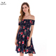 Women's Casual Sexy Off Shoulder Dress Girls Floral Print Short Sleeve A-Line Fit and Flare Mini Summer Swing Dress