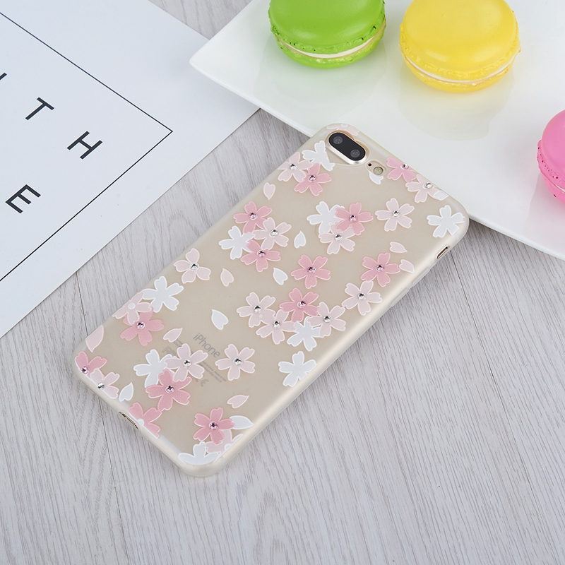 Free Ship Bling Glitter Rhinestone Flower Soft TPU Silicon case Love Heart Camera cover case for iphone 7 plus for iphone7 Flora