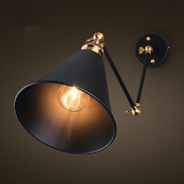 Retro Two Swing Arm Wall Lamp For Bedroom Bedside ...