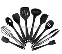 Kitchen Utensils 10pcs Non Stick Black Kitchen Tools And Gadget Wth Spatula Tongs Whisk