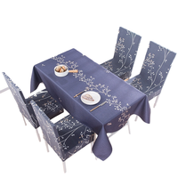 Charmcci 600410 Rectangular Linen Washable Printed Table Cloth Dinning Picnic Fancy Petal Table Cloth Set with Chair Cover