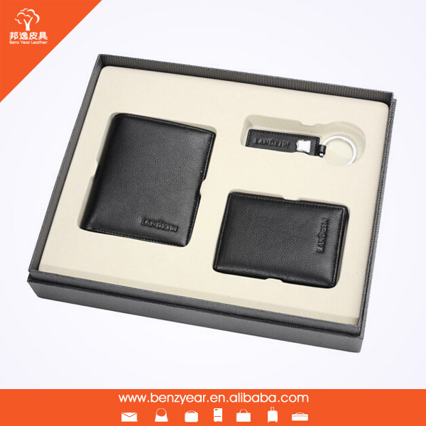 Wholesale 3PCS 100% Genuine Leather Wallet Set Card Holder Wallet Gift Box