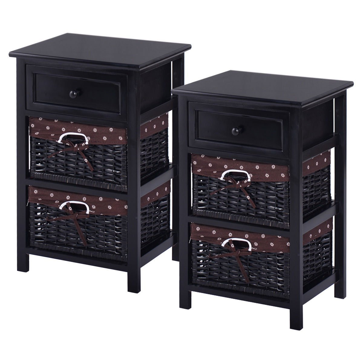 New MTN-G Set OF 2 Night Stand 3 Tier 1 Drawer Bedside End Table Organizer Wood W/2 Basket