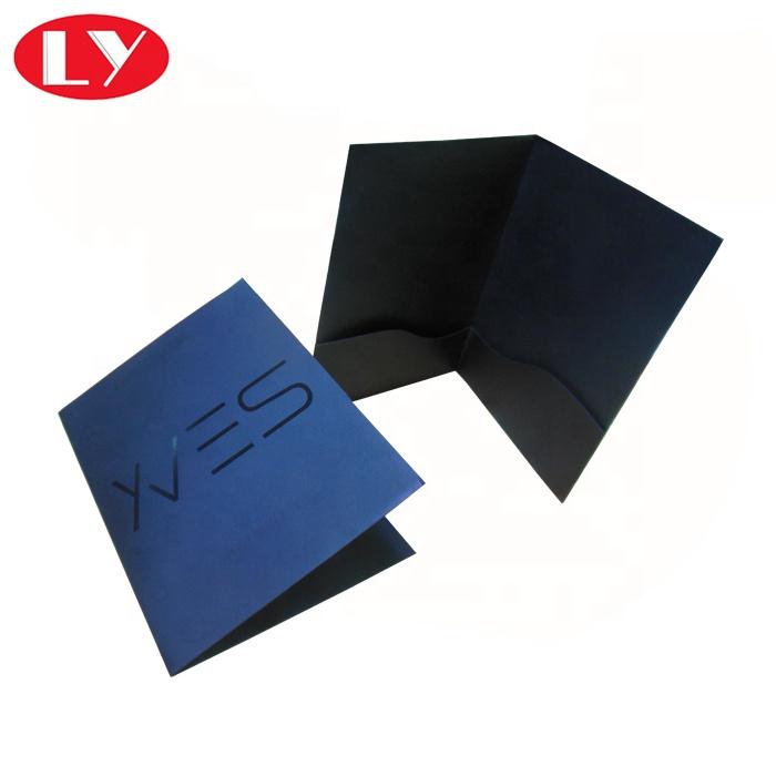 Black Paper Presentation Pockets FoldersPrinting with Black Shiny Logo A4 File Folder