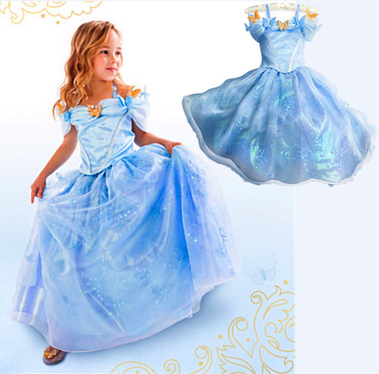 Cinderella 2015 Costumes Girls Dresses Shoes Jewelry: Cinderella Dress Retail, New 2015 Girls Elsa & Anna
