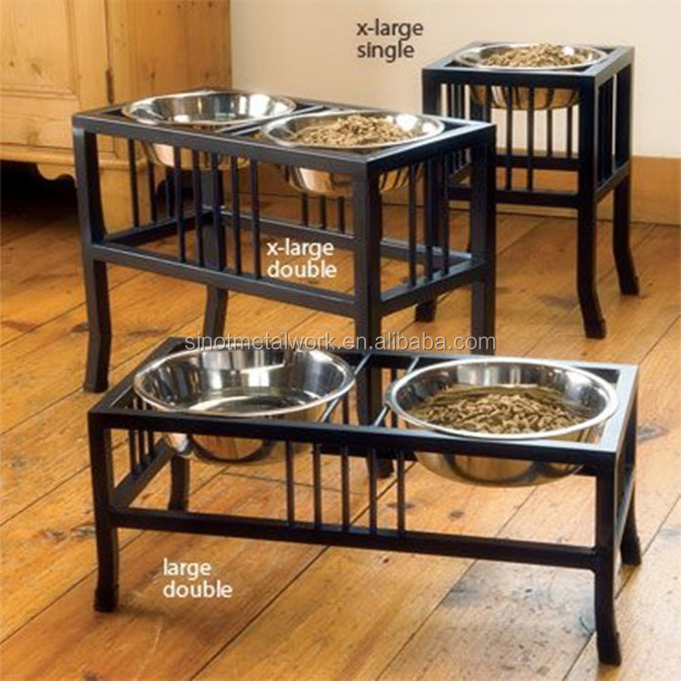 2016 fashion design forged iron elevated tall dog feeder bowl stand custom metal tall dog bowl stand for large dogs