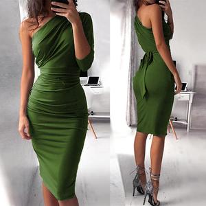 2019 Asymmetrical One-Shoulder Design Sexy Dress Skirt Suit Dresses Women