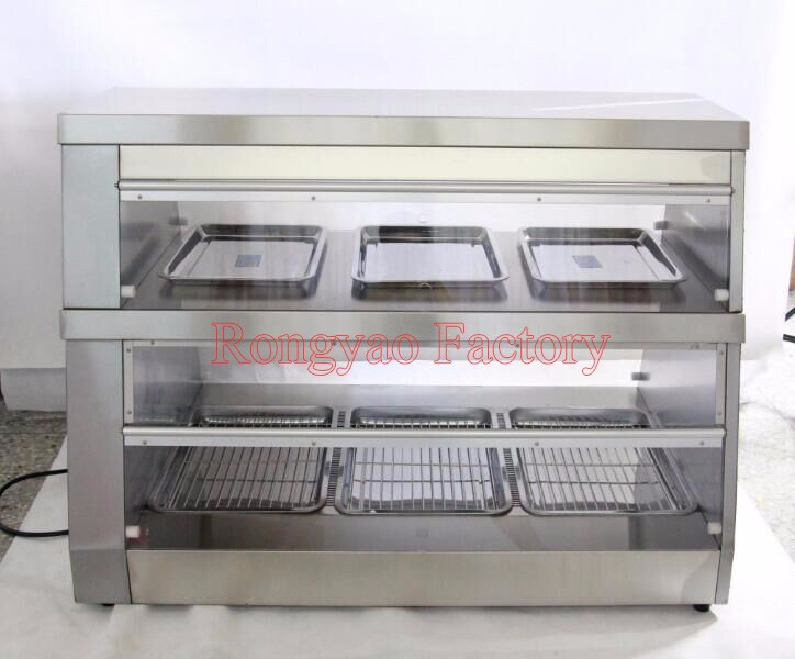 IS-DH-6P Hot Display Showcase Electric Food Warmer Stainless Steel Display Showcase With 2 Shelves