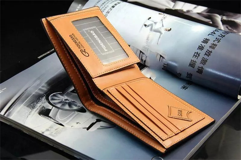 Aliexpress hot sell mens short section PU leather money clip wallet brand name purse for man