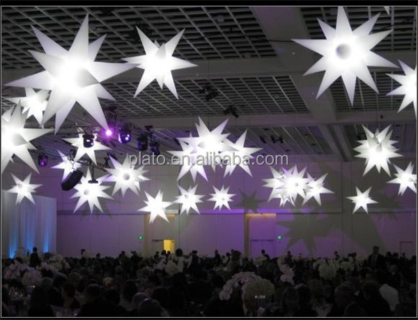 large outdoor stage decoration hanging led Christmas inflatable star, five-pointed hanging lighted inflatable star