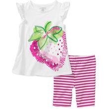 2016 Summer Girls Clothes Set Floral Kids Top Suits Chiffon T shirt Capri Pants 2 PCS