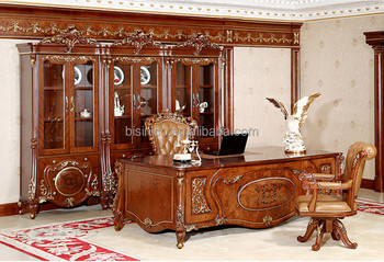 Louis Study Room Furniture French Gold Gilt Wooden Office Desk With  Veneer(MOQu003d1