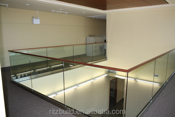Aluminum U-channel Glass Railing With Wooden Handrail For Glass ...