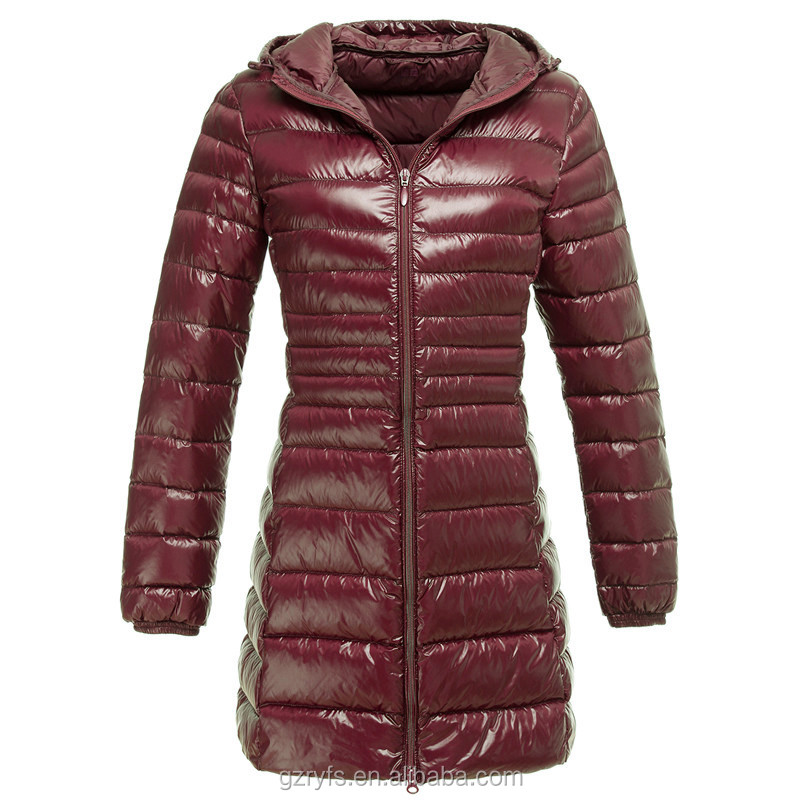OEM wholesale long sleeve zipper hoody western long down jackets for women