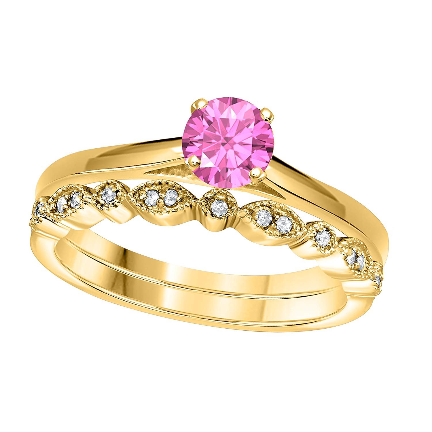 Jewelryhub 1.00 Ct Round Cut Pink Sapphire & White CZ Diamond 14k Yellow Gold Plated Sterling Silver Art Deco Vintage Design Wedding Bridal Ring Wedding Ring Set Engagement Ring Sets Size 5-10