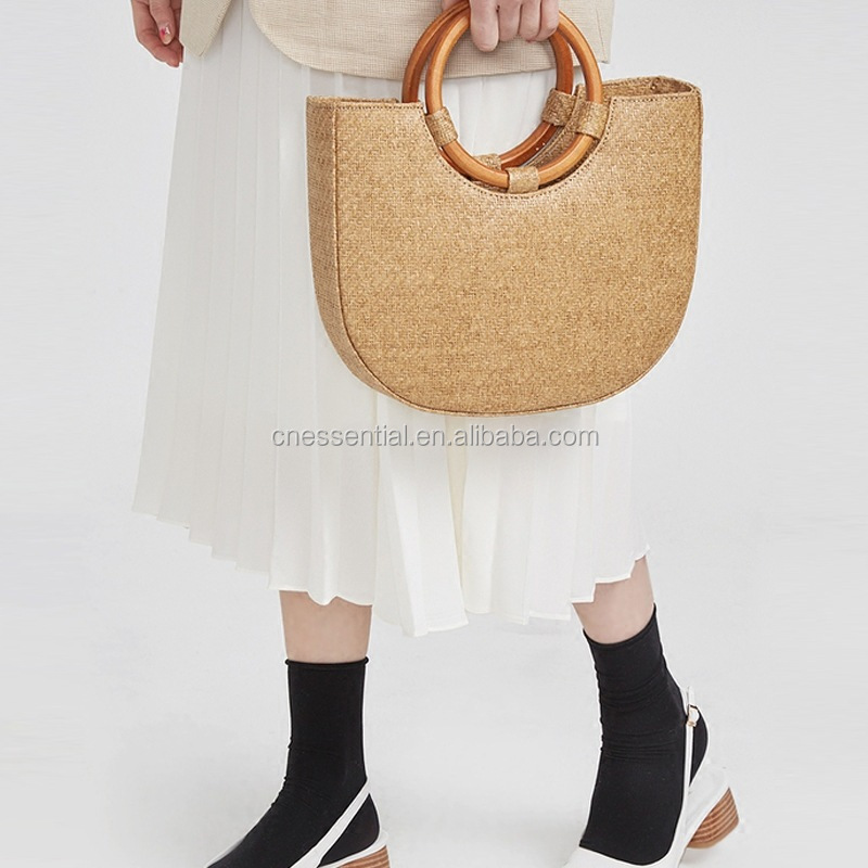 Designer wicker wheat straw beach bag, fashion boho woven straw bag
