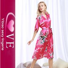023ad6317 Long Style Women's Kimono Robes Peacock And Blossoms Sexy Seda Ropa de  dormir para mujeres gordas