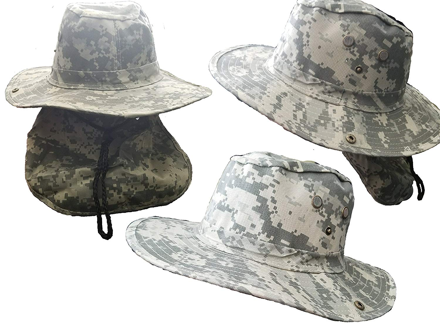 e87552fcb91 Get Quotations · BUNFIREs Bucket Cap Hunting Fishing Hiking Military Snap  Brim Neck Cover Army Mens Green Camouflage Hat
