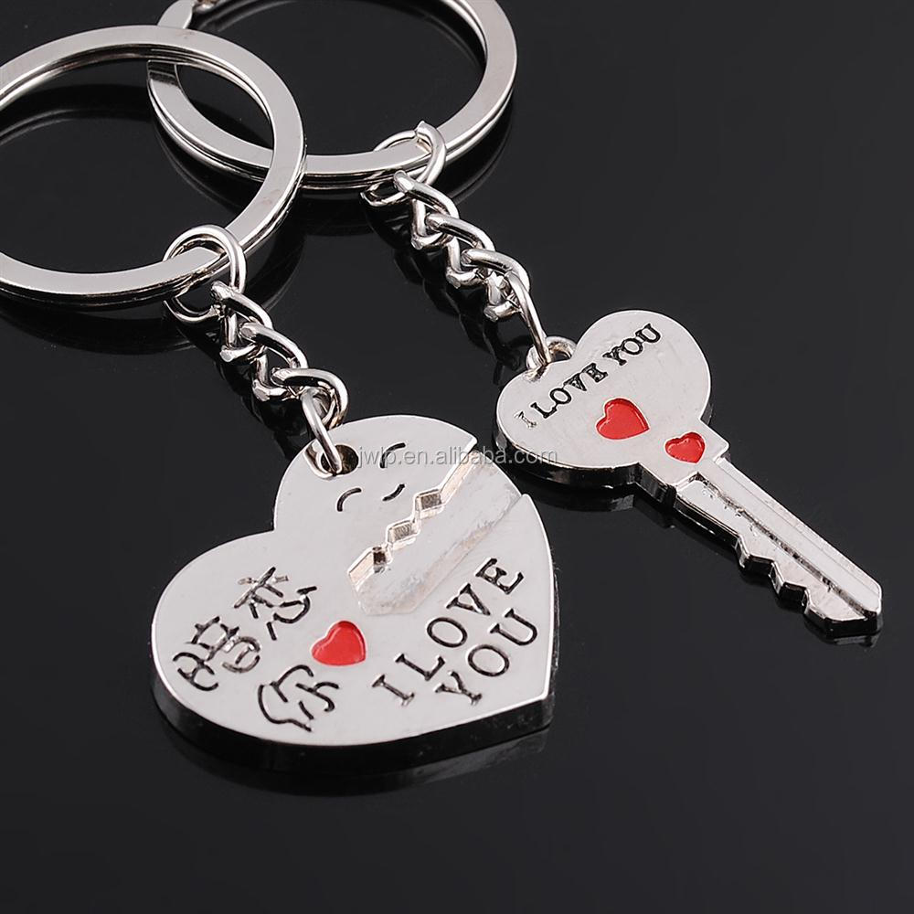 heart and key laser logo printing lover metal keyrings